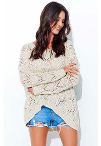 Beżowy sweter oversize Makadamia w ażurowe wzory