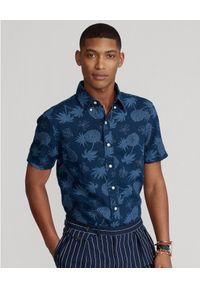 Ralph Lauren - RALPH LAUREN - Lniana koszula w tropikalny wzór Slim Fit. Typ kołnierza: polo. Kolor: niebieski. Materiał: len