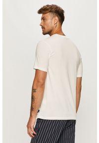 Biały t-shirt Scotch & Soda z okrągłym kołnierzem, z nadrukiem