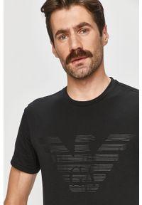 Czarny t-shirt Emporio Armani casualowy, na co dzień