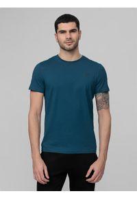 4f - T-shirt męski. Kolor: niebieski. Materiał: bawełna, dzianina, materiał. Długość rękawa: krótki rękaw. Długość: krótkie. Sport: fitness