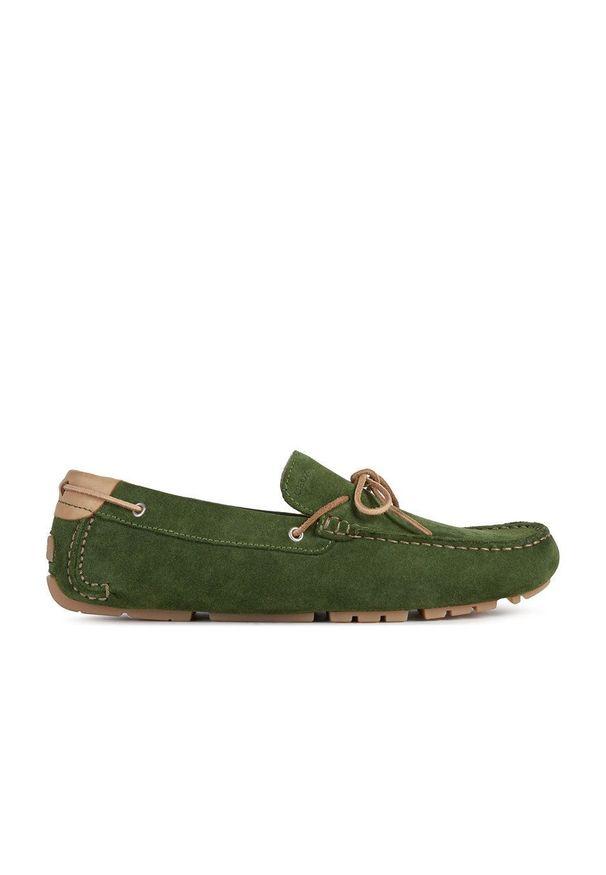 Geox - Mokasyny skórzane. Nosek buta: okrągły. Kolor: zielony. Materiał: skóra