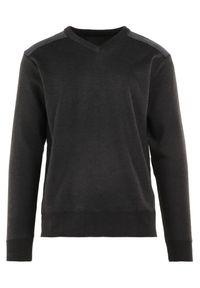 Born2be - Ciemnoszary Sweter Melyse. Typ kołnierza: dekolt w kształcie V. Kolor: szary. Materiał: jeans. Wzór: aplikacja. Styl: klasyczny
