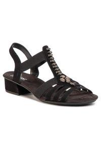 Czarne sandały Rieker na co dzień, z aplikacjami, casualowe