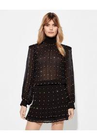 RETROFETE - Czarna sukienka Hedy. Kolor: czarny. Materiał: jedwab. Długość rękawa: długi rękaw. Wzór: aplikacja. Styl: elegancki, klasyczny