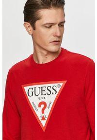 Guess - Bluza. Okazja: na co dzień. Kolor: czerwony. Wzór: nadruk. Styl: casual