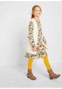 Sukienka dziewczęca z dżerseju (2 szt.), bawełna organiczna bonprix biel wełny - ciemnoniebieski. Kolor: biały. Materiał: bawełna, jersey, wełna