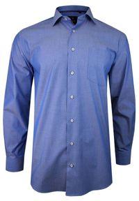 Niebieska elegancka koszula Rey Jay z długim rękawem, w grochy