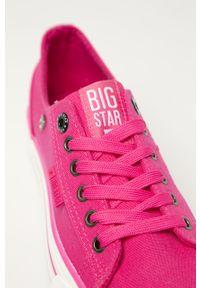 Różowe tenisówki Big-Star z cholewką, na sznurówki, na obcasie, na średnim obcasie