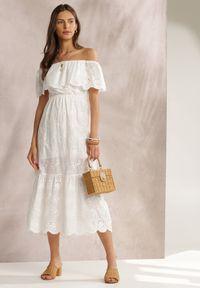Renee - Biała Sukienka Menilophi. Kolor: biały. Materiał: bawełna. Wzór: haft. Styl: boho. Długość: midi