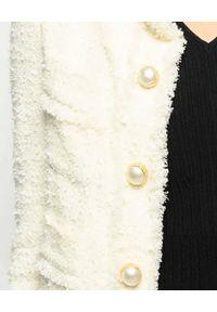 Pinko - PINKO - Tweedowa biała marynarka Immortale. Kolor: biały. Długość rękawa: długi rękaw. Długość: długie. Wzór: aplikacja