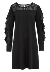 Czarna sukienka bonprix w koronkowe wzory, prosta