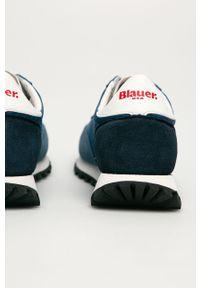 Niebieskie sneakersy Blauer na sznurówki, z cholewką, z okrągłym noskiem