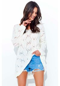 Sweter oversize Makadamia w ażurowe wzory