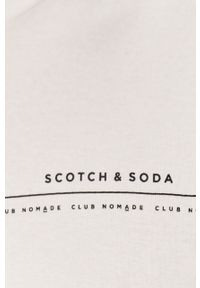 Biały t-shirt Scotch & Soda z okrągłym kołnierzem, z nadrukiem, casualowy, na co dzień