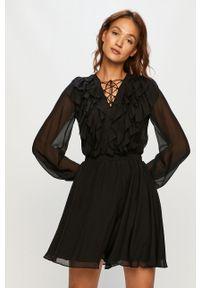 Czarna sukienka Miss Sixty z włoskim kołnierzykiem, z długim rękawem, mini, na co dzień