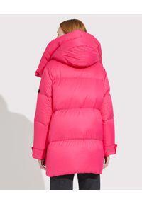 YVES SALOMON PARIS - Różowa kurtka puchowa. Kolor: różowy, fioletowy, wielokolorowy. Materiał: puch. Długość rękawa: długi rękaw. Długość: długie. Wzór: aplikacja