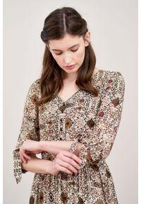 Marie Zélie - Sukienka Odette Valva kremowa. Kolor: kremowy. Materiał: bawełna, wiskoza, tkanina, materiał