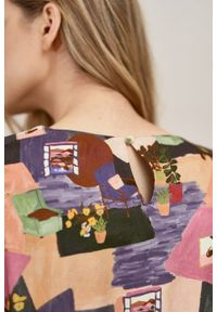 Marie Zélie - Sukienka Livia Imagini. Materiał: bawełna, wiskoza, materiał, tkanina, skóra. Długość rękawa: krótki rękaw