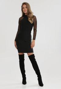 Born2be - Czarna Sukienka Downreaver. Kolor: czarny. Długość rękawa: długi rękaw. Typ sukienki: dopasowane. Długość: mini