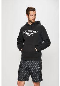 Czarna bluza nierozpinana Reebok Classic na co dzień, z nadrukiem, z kapturem, casualowa