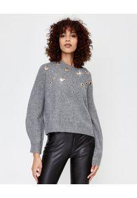 Pinko - PINKO - Szary sweter z wełną Tagikistan. Kolor: szary. Materiał: wełna. Długość: długie. Wzór: aplikacja