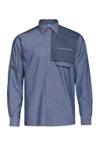 VEVA - Męska Koszula Casualowa granatowa. Okazja: na co dzień. Typ kołnierza: kołnierzyk klasyczny. Kolor: niebieski. Materiał: bawełna. Długość: długie. Styl: casual