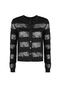Sweter TwinSet w koronkowe wzory, z okrągłym kołnierzem
