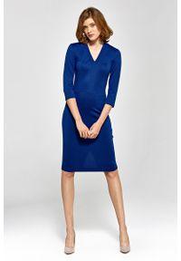 Nife - Wizytowa Dopasowana Sukienka z Dekoltem V - Niebieska. Kolor: niebieski. Materiał: wiskoza, nylon, poliester. Styl: wizytowy