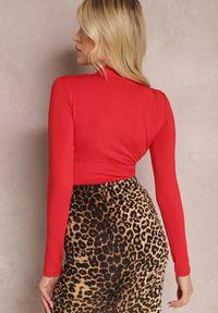 Renee - Czerwone Body Lyvaeno. Kolor: czerwony. Materiał: dzianina, materiał. Długość: długie. Wzór: gładki, aplikacja