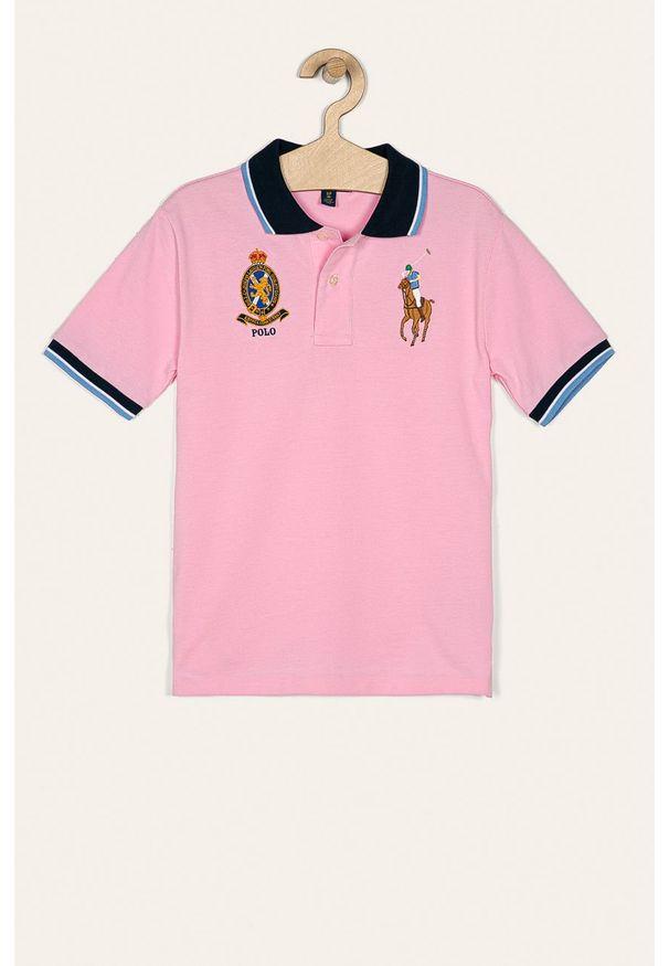 Różowy t-shirt polo Polo Ralph Lauren z aplikacjami, na co dzień, polo