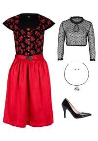 Sukienka w ludowym stylu z krótkimi rękawami bonprix czarno-truskawkowy w kwiaty. Kolor: czarny. Długość rękawa: krótki rękaw. Wzór: kwiaty. Styl: elegancki