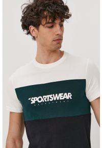 4f - 4F - T-shirt. Okazja: na co dzień. Materiał: dzianina. Wzór: nadruk. Styl: casual