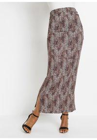 Spódnica maxi bonprix w animalistyczny deseń. Kolor: brązowy. Styl: elegancki