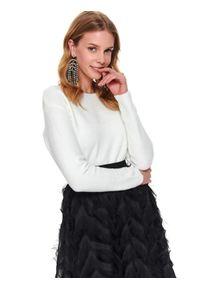 Biały sweter TOP SECRET długi, z długim rękawem, klasyczny