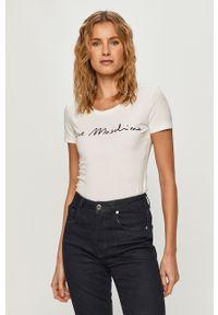 Biała bluzka Love Moschino casualowa, na co dzień, z nadrukiem