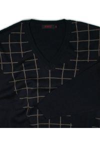 Czarny sweter Kings z dekoltem w serek, w kratkę, na jesień