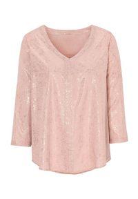 Różowa bluzka Cellbes z nadrukiem, elegancka, z dekoltem w serek
