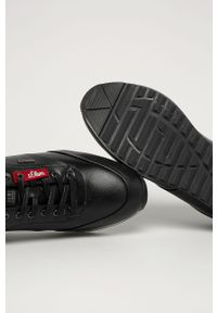 Czarne sneakersy s.Oliver z cholewką, z okrągłym noskiem
