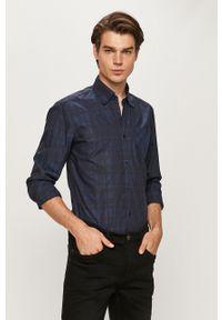 Niebieska koszula Trussardi Jeans klasyczna, na co dzień, długa, z klasycznym kołnierzykiem