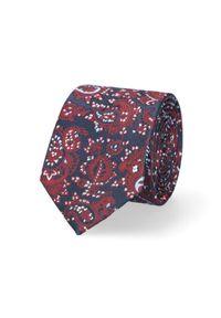 Lancerto - Krawat Granatowo-Bordowy Paisley. Kolor: niebieski, czerwony, wielokolorowy. Materiał: mikrofibra, materiał. Wzór: paisley. Styl: elegancki