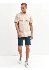 TOP SECRET - Koszula z lnem. Okazja: na co dzień. Kolor: beżowy. Materiał: len. Długość rękawa: krótki rękaw. Długość: krótkie. Sezon: lato. Styl: wakacyjny, casual #4