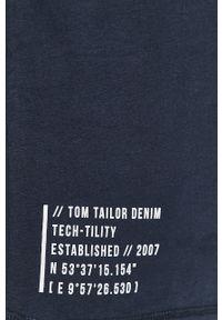 Niebieska koszulka z długim rękawem Tom Tailor Denim casualowa, z nadrukiem, na co dzień