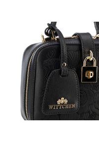 Czarny kuferek Wittchen z haftami, z haftem, elegancki, mały