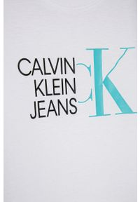 Biały t-shirt Calvin Klein Jeans z nadrukiem, casualowy, na co dzień