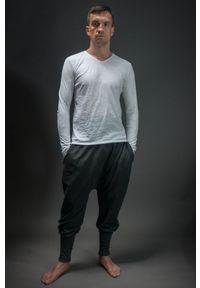 Szare spodnie Hultaj Polski w kolorowe wzory, długie