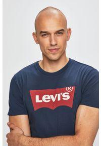 Niebieski t-shirt Levi's® z nadrukiem, z okrągłym kołnierzem