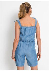 """Kombinezon dżinsowy TENCEL™ Lyocell z wiązanymi ramiączkami bonprix niebieski """"stone"""". Kolor: niebieski. Materiał: lyocell. Długość rękawa: na ramiączkach. Styl: elegancki #4"""