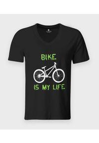 MegaKoszulki - Koszulka męska v-neck Bike is my life. Materiał: bawełna, skóra, materiał. Styl: klasyczny
