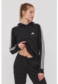 Adidas - adidas - Bluza. Typ kołnierza: kaptur. Kolor: czarny. Materiał: poliester. Długość rękawa: długi rękaw. Długość: długie. Wzór: aplikacja
